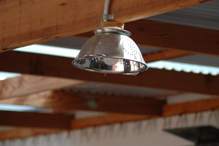 A Colander used as a light shade