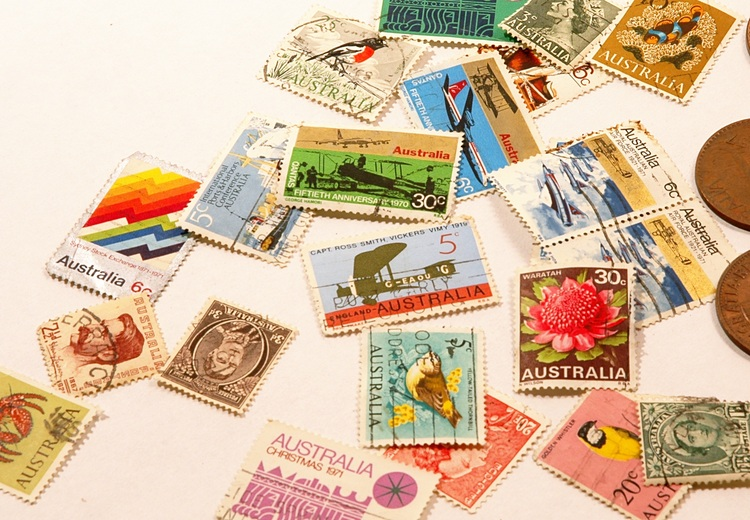 A collection of Australian stamps and coins from the early '70s
