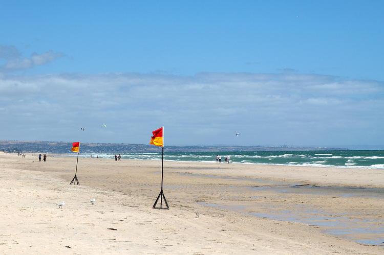 Lifeguard flags on the beach