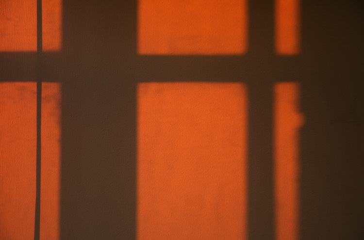 Sunset shadows on a wall